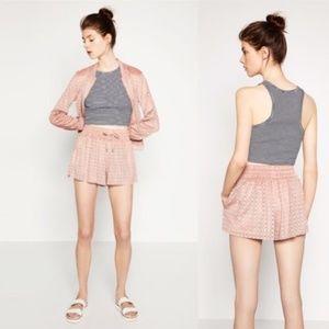 Zara Laser Cut Shorts Faux Suede Drawstring